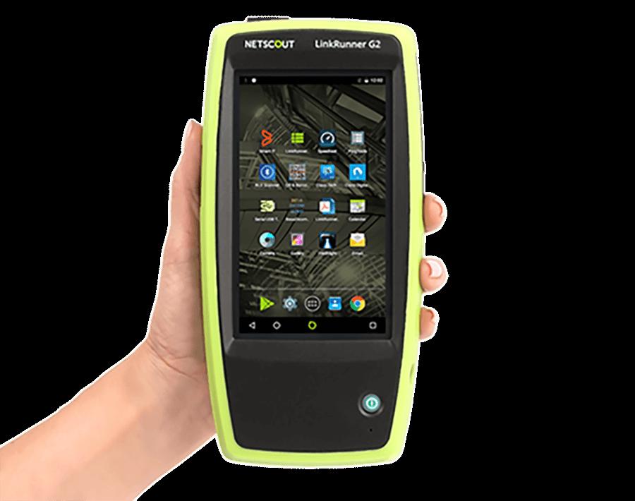 Netscout LinkRunner G2 Tester in hand