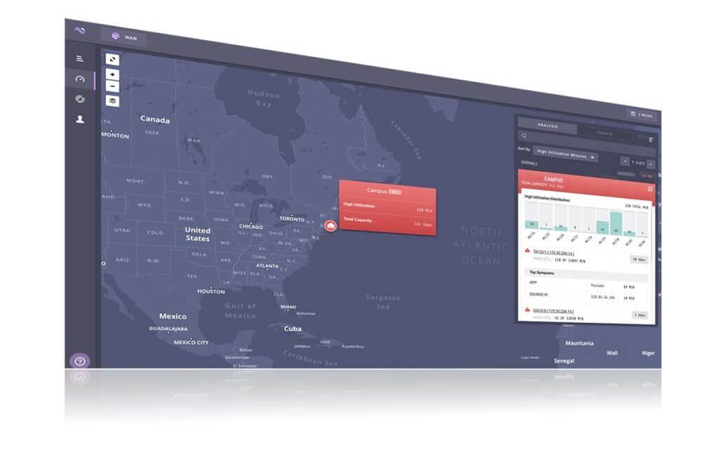 Nyansa voyance WAN service map